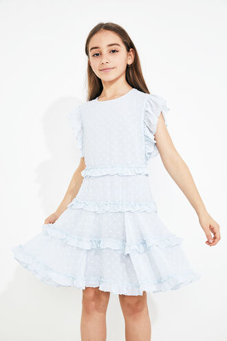 MARYAM FRILL DRESS in colour BALLAD BLUE