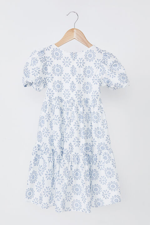 GIRLS AMELIE TIERED DRESS in colour WINTER SKY
