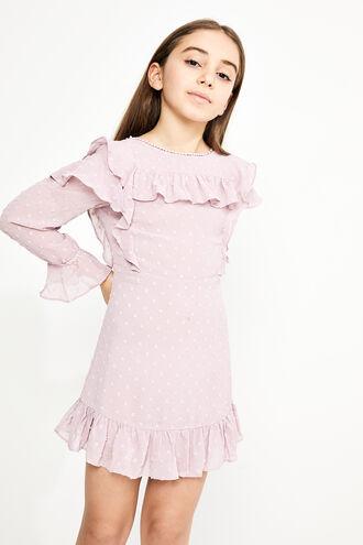 ABBIE RUFFLE DRESS in colour GRAY LILAC