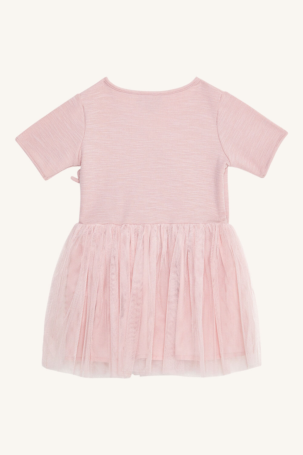 BABY GIRL WRAP BALLET DRESS  in colour PALE DOGWOOD