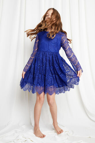 GERTRUDE LACE DRESS in colour AMPARO BLUE