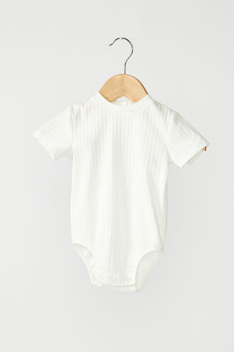 POINTELLE BABY GROW in colour BRIGHT WHITE