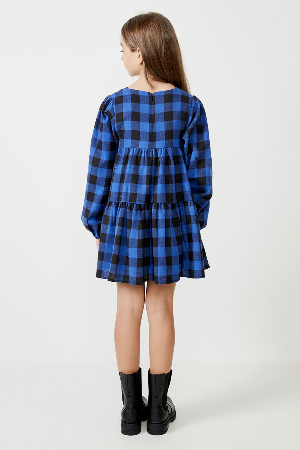 GIRLS THE TIERED CHECK DRESS  in colour ANGEL FALLS