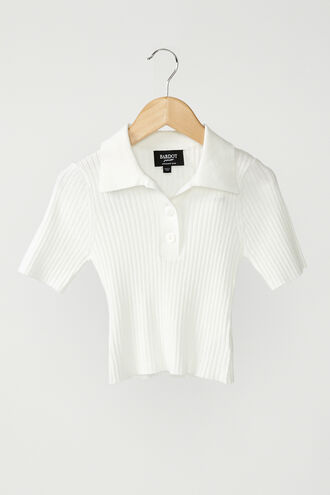KNIT COLLAR TEE in colour BRIGHT WHITE