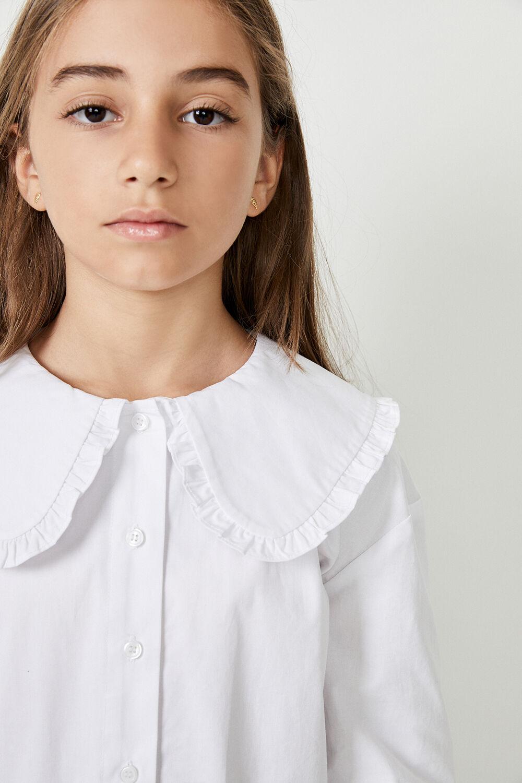 GIRLS BIB COLLAR POPLIN SHIRT in colour BRIGHT WHITE