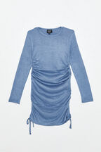 GIRLS ELOISE ROUCHED MINI DRESS  in colour MOOD INDIGO
