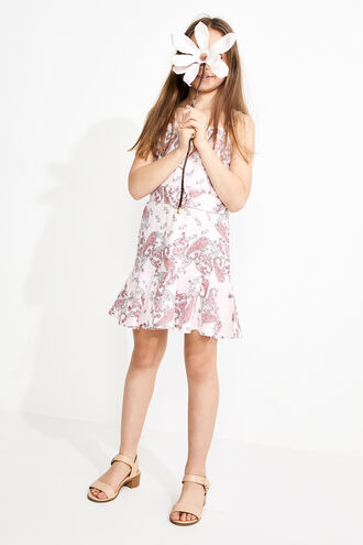 PAISLEY LINEN DRESS in colour PARFAIT PINK