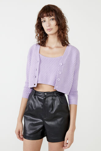 WOMENS HONEYCOMB CARDI in colour VIOLET TULIP