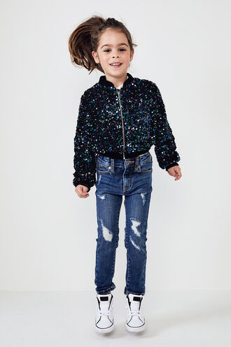 NIKKI SEQUIN BOMBER in colour DAZZLING BLUE