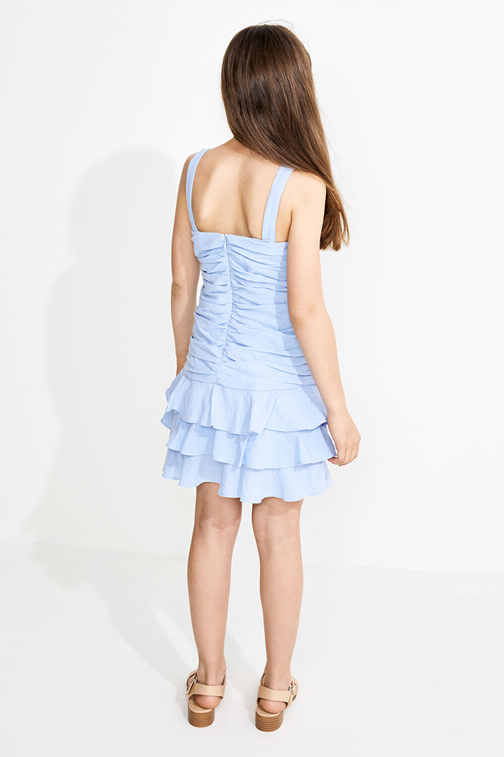 TWEEN GIRL ROUCHED MINI FRILL DRESS in colour CERULEAN