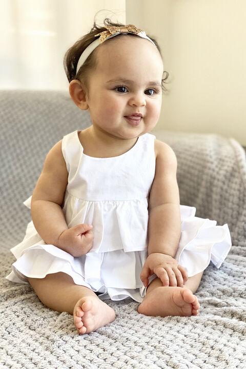 BABY GIRL POPLIN RUFFLE GROW in colour BRIGHT WHITE