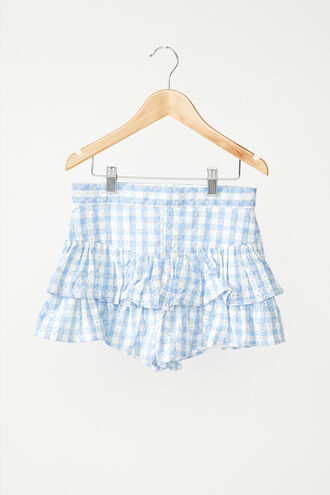 BRODERIE RUFFLE SKORT in colour CERULEAN