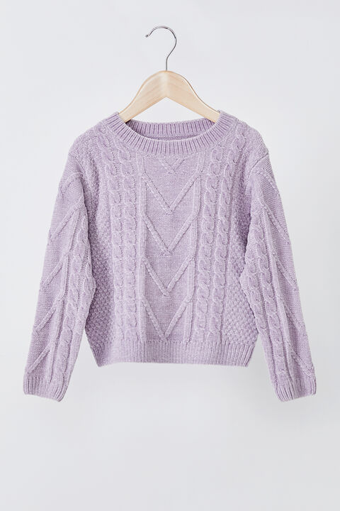GIRLS STELLA CABLE KNIT SWEATER in colour LILAC CHIFFON