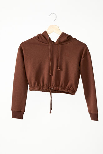 DRAWCORD HOODIE in colour CHOCOLATE BROWN