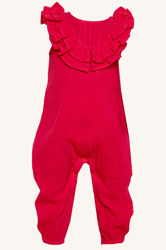 PEGGY RUFFLE ROMPER in colour SHOCKING PINK