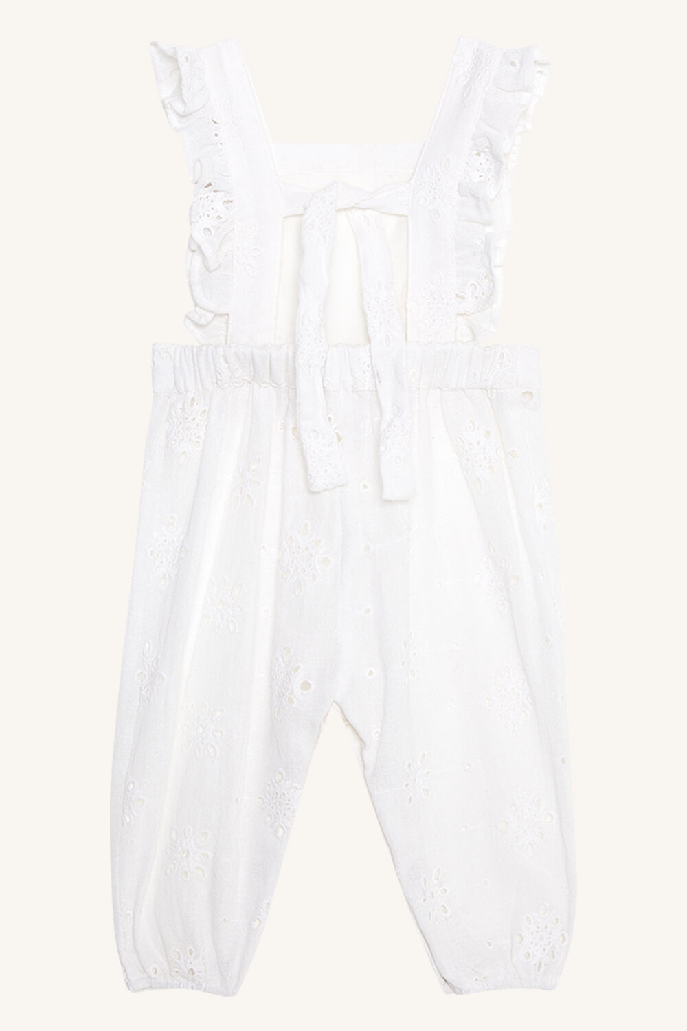 BABY GIRL BRODERIE OVERALLS in colour CLOUD DANCER