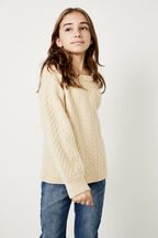 GIRLS EVA CABLE KNIT  in colour MOONLIGHT