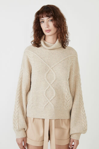 WOMENS MAYA CABLE KNIT in colour MOONLIGHT