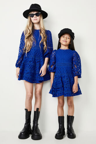 THE PARTY LACE DRESS in colour BRIGHT COBALT