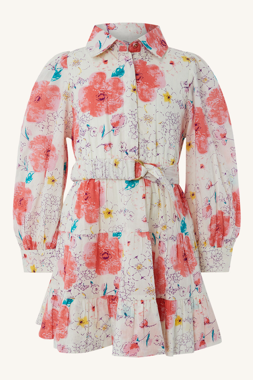 PRINTED MINI SHIRT DRESS in colour PURPLE ORCHID
