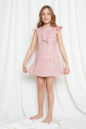 LIZZIE BOUCLE DRESS in colour MAHOGANY ROSE