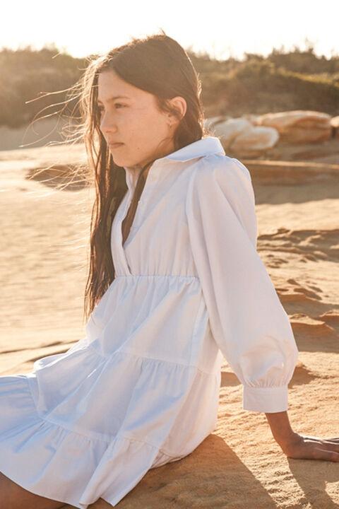 JUNIOR GIRL MINI POPLIN DRESS in colour BRIGHT WHITE