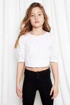 Tween Girl Puff Sleeve Top in colour BRIGHT WHITE
