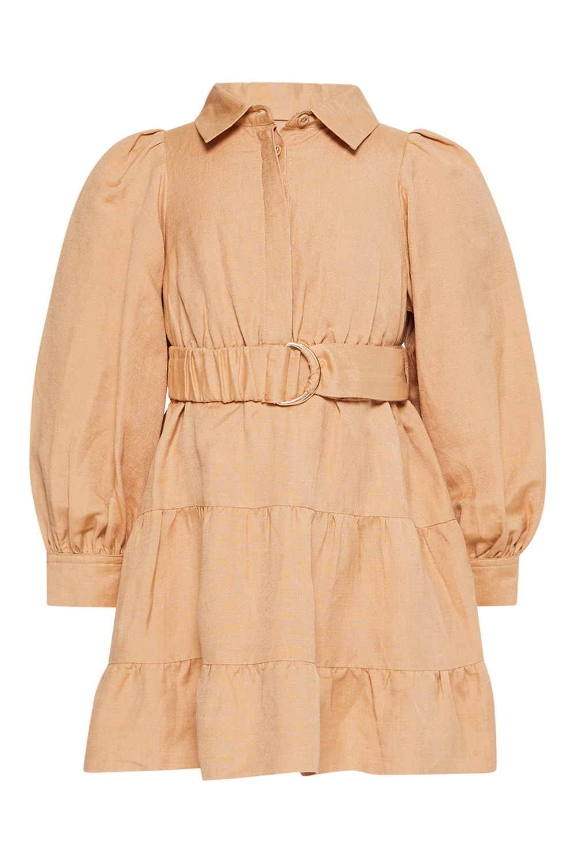 GIRLS MINI SHIRT DRESS  in colour TAN