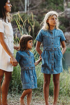 GIRLS STACEY DENIM DRESS in colour MIDNIGHT NAVY