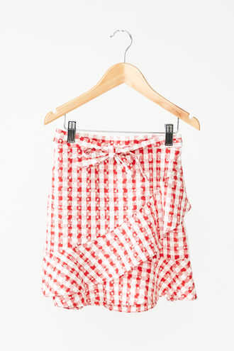 GINGHAM WRAP SKIRT in colour TANGO RED