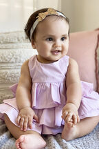 BABY GIRL POPLIN RUFFLE GROW in colour GRAY LILAC