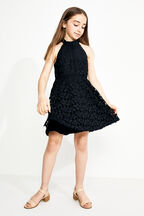 JUNIOR GIRL GEMMA HALTER DRESS in colour CAVIAR