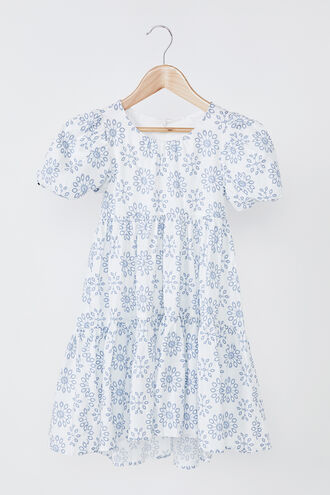 AMELIE TIERED DRESS in colour WINTER SKY