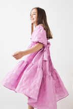 JUNIOR GIRL PUFF SLEEVE TIER DRESS in colour LILAC SNOW