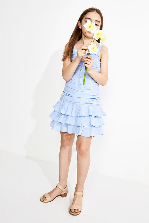 JUNIOR GIRL ROUCHED MINI FRILL DRESS in colour CERULEAN