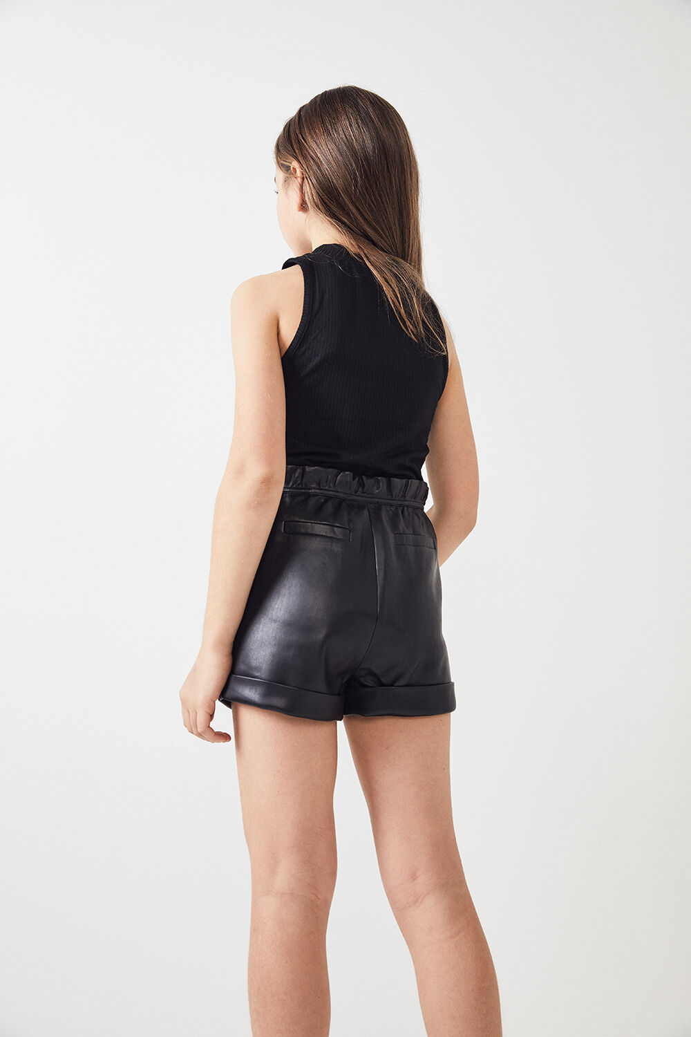 JUNIOR GIRL IRIS VEGAN LEATHER SHORT in colour CAVIAR