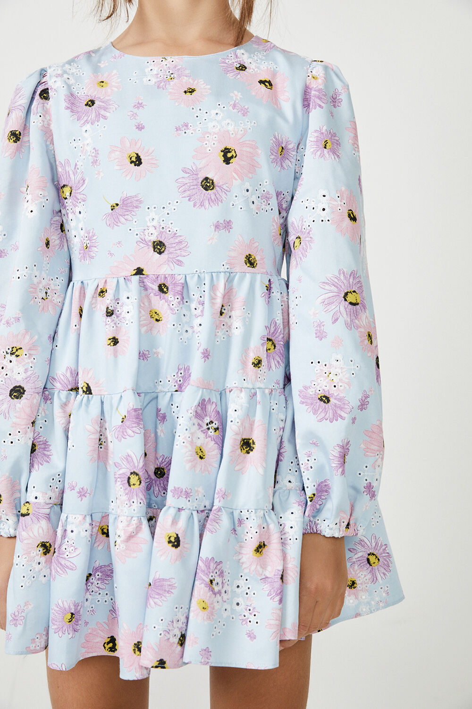 GIRLS ELLA BRODERIE DRESS in colour CLEMATIS BLUE