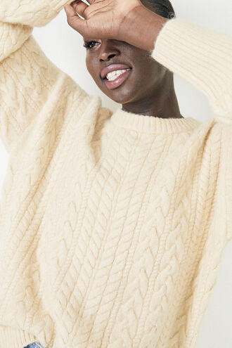 WOMENS EVA CABLE KNIT in colour MOONLIGHT