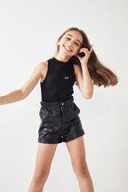 TWEEN GIRL FUNNEL NECK TANK in colour JET BLACK