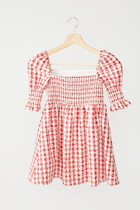 TWEEN GIRL GINGHAM SHIRRED DRESS in colour TANGO RED