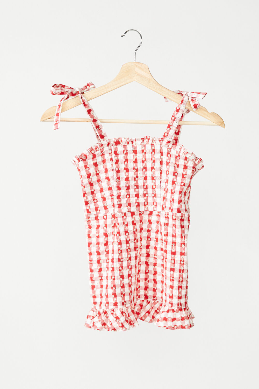 JUNIOR GIRL GINGHAM MINI DRESS in colour TANGO RED