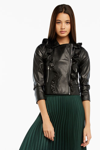 CHLOE PU RUFFLE JKT in colour CAVIAR