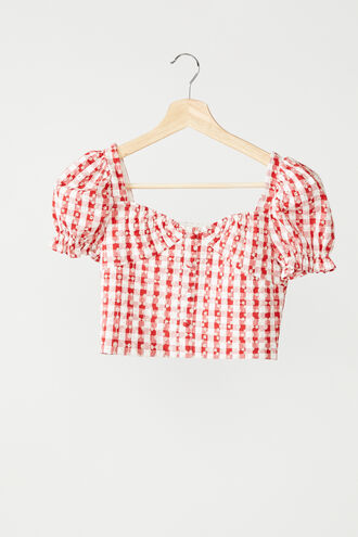 GINGHAM SHIRRED TOP in colour TANGO RED