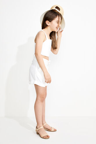 LINEN CROP TOP in colour CLOUD DANCER