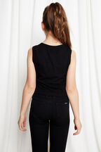 TWEEN GIRL BUTTON FRONT TANK in colour JET BLACK