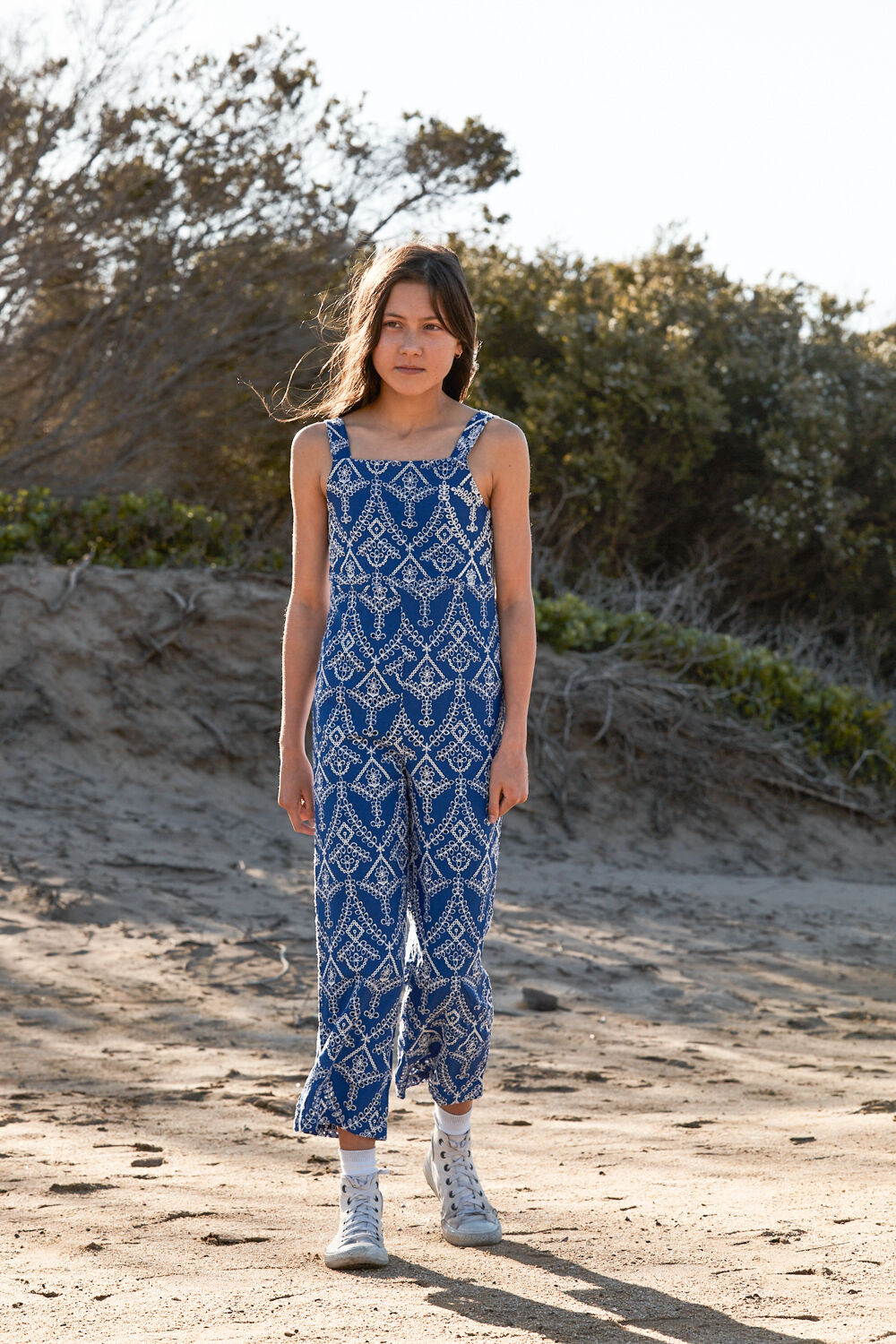 TWEEN GIRL CULLOTE JUMPSUIT in colour BALLAD BLUE
