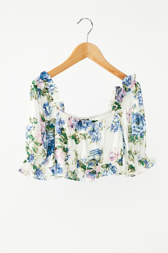 SAMMIE FLORAL TOP in colour CLEMATIS BLUE