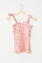 TWEEN GIRL GINGHAM MINI DRESS in colour TANGO RED