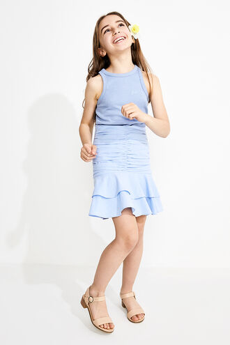 ROUCHED MINI SKIRT in colour CERULEAN