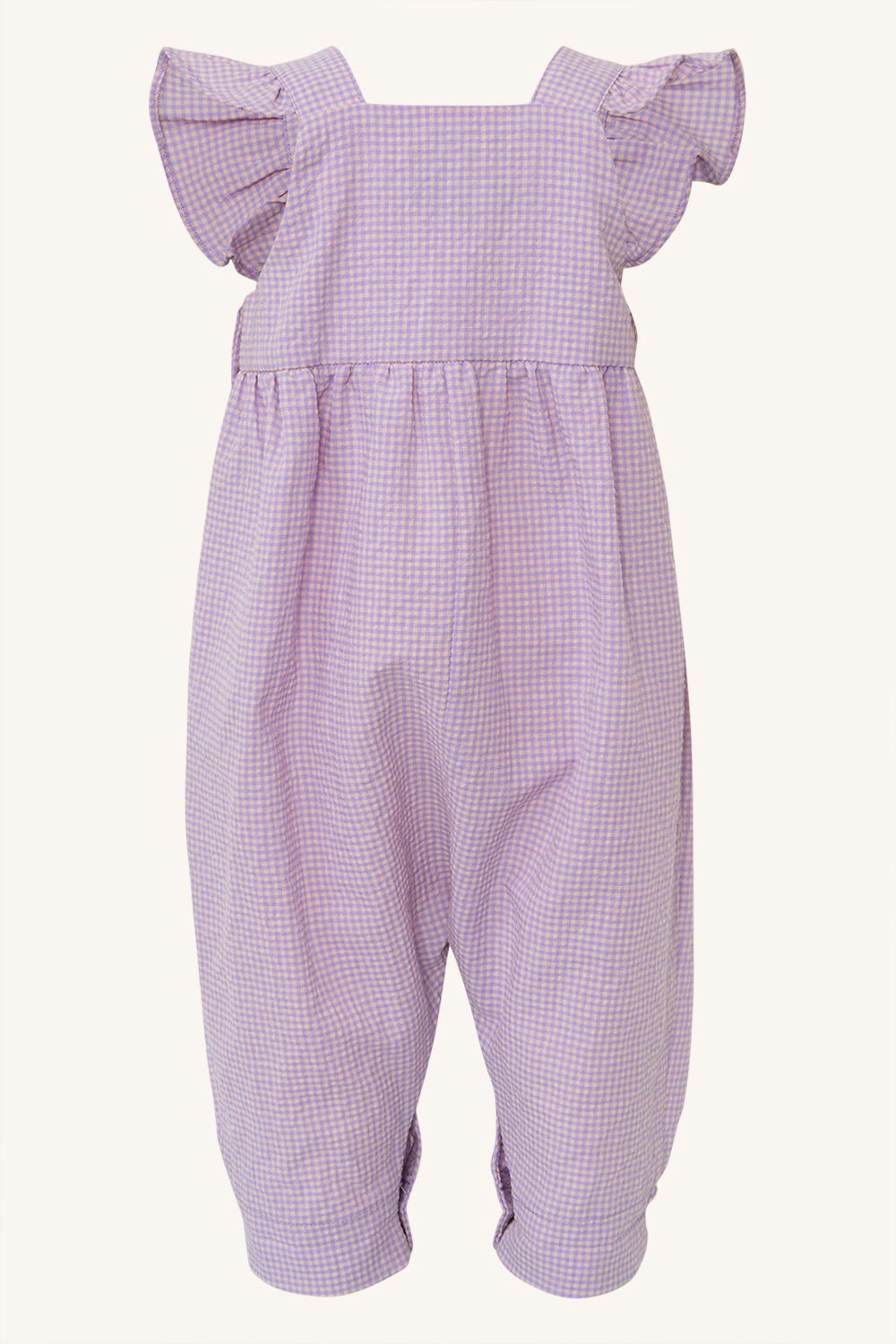 BABY GIRLS GINGHAM OVERALL in colour LILAC SNOW